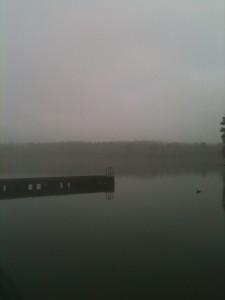 Early morning fog at boat launch