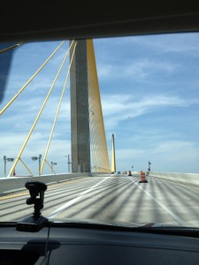 Crossing the Sunshine Bridge outside of St. Pete.