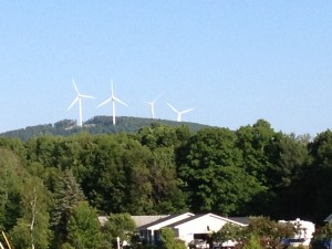 "Windmills at the next ""hill"" over from our campground."