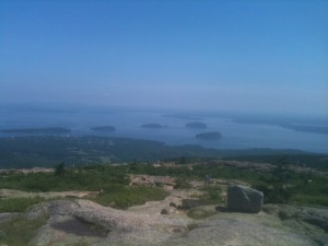 The view of Bar Harbor from Cadillac Mountain.