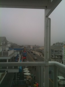 The main drag in Hampton Beach. Taken from a third floor deck. It was rainy and cold, and we felt like we were in the clouds because they were looming so low that day.