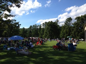 The shady lawn at Tanglewood.