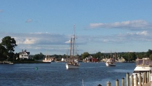 Boats heading for the drawbridge in Mystic.