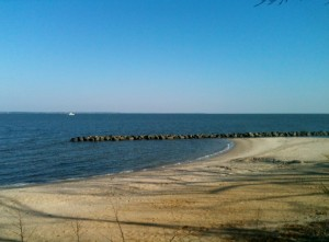 The shore from Colonial Beach on Virginia's Northern Neck. Alexander Graham Bell once lived in this tiny town.