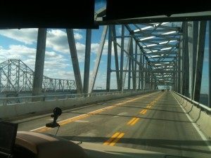 We postponed our travel to Virginia from Delaware by one day because of wind warnings on this bridge.
