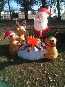 Campfire Santa with some of his reindeer