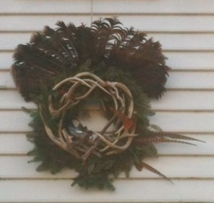 One of the beautiful and creative wreaths decorating the historic buildings in Williamsburg