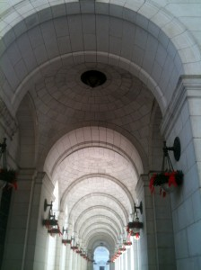Union Station was all decorated for Christmas. This hallway was beautiful to me.