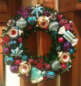 The fabulous wreath my friend Amy made for us and sent to us so we could have Christmas decorations this year.