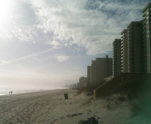 Myrtle Beach is lined with condos and beach houses