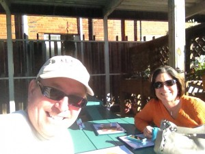 Drinks and snacks in the warm afternoon sun on Fat Tony's Patio in downtown Wilmington.