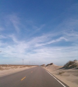 Highway 12 on Ocracoke Island, driving toward Hatteras.