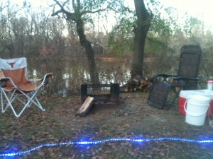 Our fire pit beside the Neuse River at our campsite in Kinston.