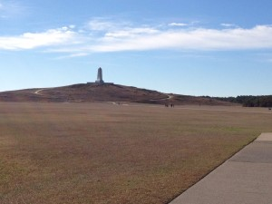 The monument at Kill Devil Hills, where the Wright brothers used to practice with their gliders.
