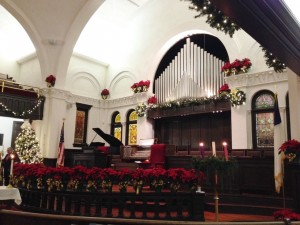 Inside the sanctuary of Queen Street United Methodist Church.
