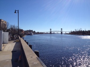 The riverwalk in downtown Wilmington