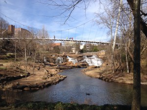 The Liberty Bridge is a pedestrian bridge in downtown Greenville that crosses over Reedy River Falls. This beautiful park is smack in the middle of downtown.