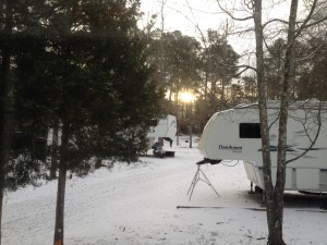 The view from our front door at Magnolia Campground when we awoke to a beautiful dusting of snow on the ground.