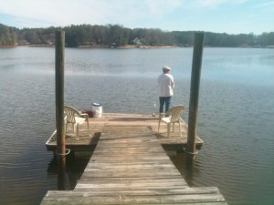 Mike got to fish every day from our own personal dock at our cottage on Lake Norman.