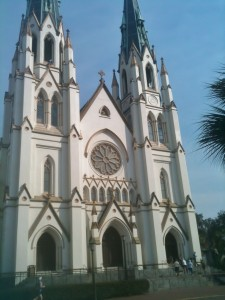 The Cathedral of St. John the Baptist seems to be gigantic as it sits across from a park on the tiny streets of Savannah.