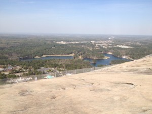 A semi-clear view of the land below Stone Mountain.