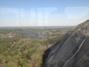 A view of Stone Mountain and the lake from inside the tram.