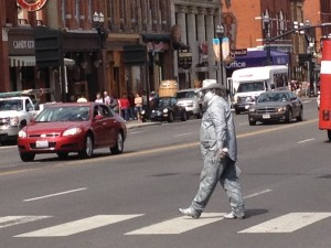 No big deal... only a man completely covered in silver paint meandering along the streets of downtown Nashville.