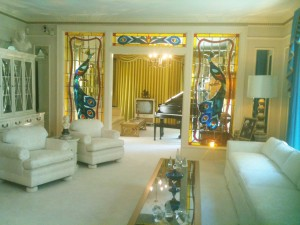 The living room is the most 'tame' and conservative at Graceland.