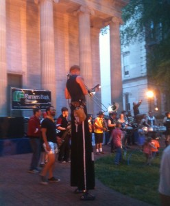 The Downtown Frankfort Organization sponsors summer concerts on the lawn of the old capitol building on Friday nights. We were lucky enough to be in town for the kick-off event. The first band that played was an eclectic marching band, and their leader was this guy playing the horn on stilts. I never took the photo at the right time, but he also had fire blowing from the instrument while he played!