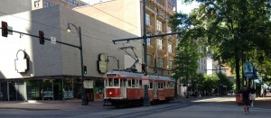 The antique trolley system in downtown Memphis added lots of charm to the area.
