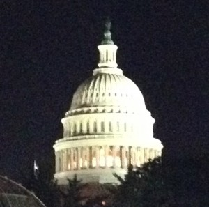 Now the Capitol dome is about to be covered in scaffolding, but we were lucky enough to see it all lit up in the dark before the work begins.