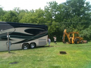 "We asked if they could take a big rig. They said yes. We believed them. They assigned us a grass pad with no gravel or concrete. There had been lots of recent rains in the area. We sunk into the muddy ground before mike could even pull all the way into our spot. That is the first time we've been towed out of anywhere. Now, instead of asking the parks if they can take big rigs, our wording has changed a bit. The new question is ""Do you have concrete or gravel pads""? Live and learn."