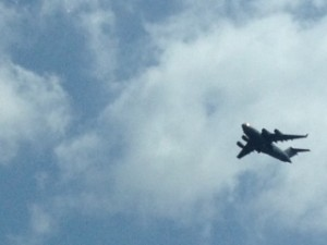 We watched this HUGE military carrier practice touch-and-goes at a local airport as we drove to Utica one afternoon.