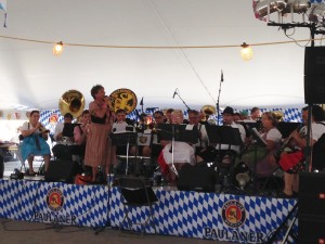 The large tent beside the food court at the Cleveland Octoberfest (in August) featured a large oompah band that played non-stop. I think they could have used a slightly larger stage.