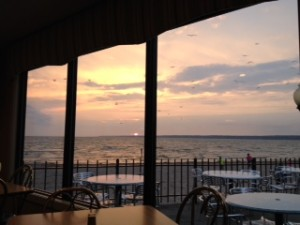 On the last night we were at Mayfair Campground we drove into Sylvan Beach to have dinner at a waterfront restaurant. It was too windy to eat outside, and it had been cloudy all day... but we got lucky. A table was waiting for us by the window, and the sunset did not disappoint.