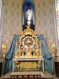An altar to Mother Mary inside the same church.