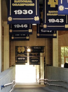 This is the tunnel that the athletes run through before every Notre Dame home game. (I enjoyed my time in the Basilica, and Mike really liked seeing the stadium).