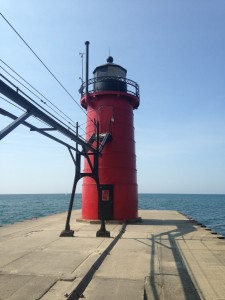 The lighthouse where the Black River dumps into Lake Michigan.