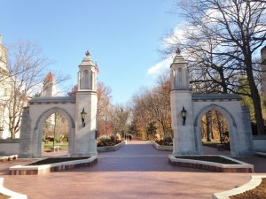 The main entrance to Indiana University.