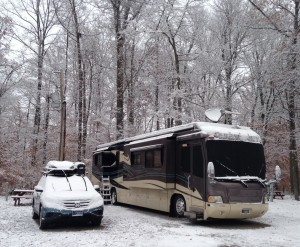 The first snow ever for The Monaco was last year in South Carolina. Here is a shot of the coach's first snow of the SEASON. I have a feeling we are going to see more of the white stuff this winter than we did last year.