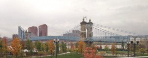 We had a wonderful view of this iconic Cincinnati bridge during our happy hour at the brewpub.