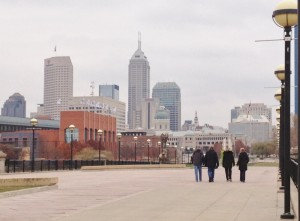 Walking through the state park that is adjacent to downtown Indianapolis.