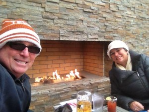 We spotted this outdoor fireplace at the Budweiser Brew House when we were wandering around downtown St. Louis while the temperatures were in the 30's. Seemed like a perfect excuse to sit down and have a drink.