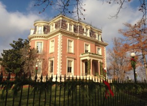 The Missouri Governor's Mansion sits high on a bluff above the Missouri River. I can only imagine what the view looks like from those third floor windows.