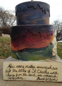 Approximately 250 fiberglass cakes are scattered throughout the St. Louis region. They're placed at notable locations to commemorate the 250th anniversary of the founding of St. Louis. This one was in the neighboring community of St. Charles.