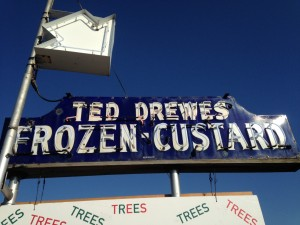 We stopped at the famous Ted Drewes during one of our daytrips to St. Louis. I got a micro concrete mint chocolate chip.  I can understand why this place is world famous. During the slow months of Winter, the genius proprietor started selling Christmas trees to supplement his income. While we were there, we selected a natural pine swag to put on the front of the Monaco.