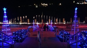Some of the Christmas lights in front of the fountain at Branson Landing.