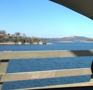 It was cloudy during most of our time in the Ozarks. Here is one sunny shot of Table Rock Lake as we drove across a bridge. The water was so blue in the lake!