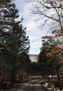 The entrance into Big Cedar Lodge includes a beautiful view of Table Rock Lake through the trees.