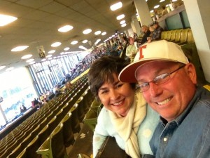 A selfie from the horse races at Oaklawn.